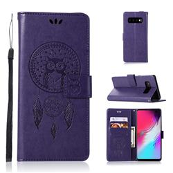 Intricate Embossing Owl Campanula Leather Wallet Case for Samsung Galaxy S10 5G (6.7 inch) - Purple
