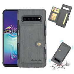 Brush Multi-function Leather Phone Case for Samsung Galaxy S10 5G (6.7 inch) - Gray