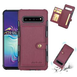 Brush Multi-function Leather Phone Case for Samsung Galaxy S10 5G (6.7 inch) - Wine Red