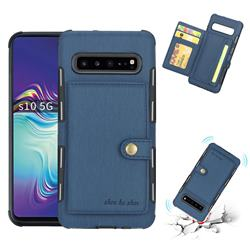 Brush Multi-function Leather Phone Case for Samsung Galaxy S10 5G (6.7 inch) - Blue