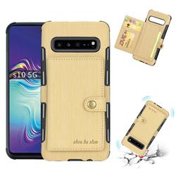 Brush Multi-function Leather Phone Case for Samsung Galaxy S10 5G (6.7 inch) - Golden