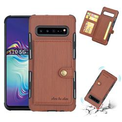 Brush Multi-function Leather Phone Case for Samsung Galaxy S10 5G (6.7 inch) - Brown