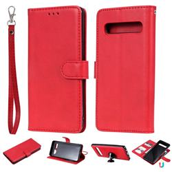 Retro Greek Detachable Magnetic PU Leather Wallet Phone Case for Samsung Galaxy S10 5G (6.7 inch) - Red