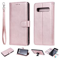 Retro Greek Detachable Magnetic PU Leather Wallet Phone Case for Samsung Galaxy S10 5G (6.7 inch) - Rose Gold