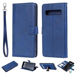 Retro Greek Detachable Magnetic PU Leather Wallet Phone Case for Samsung Galaxy S10 5G (6.7 inch) - Blue