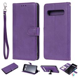 Retro Greek Detachable Magnetic PU Leather Wallet Phone Case for Samsung Galaxy S10 5G (6.7 inch) - Purple