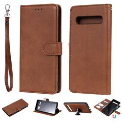 Retro Greek Detachable Magnetic PU Leather Wallet Phone Case for Samsung Galaxy S10 5G (6.7 inch) - Brown