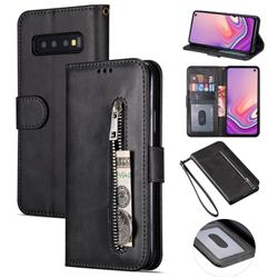 Retro Calfskin Zipper Leather Wallet Case Cover for Samsung Galaxy S10 5G (6.7 inch) - Black