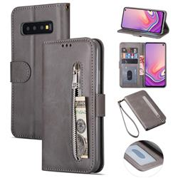 Retro Calfskin Zipper Leather Wallet Case Cover for Samsung Galaxy S10 5G (6.7 inch) - Grey