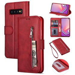 Retro Calfskin Zipper Leather Wallet Case Cover for Samsung Galaxy S10 5G (6.7 inch) - Red
