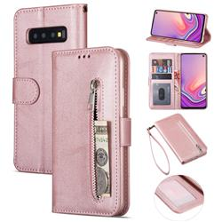Retro Calfskin Zipper Leather Wallet Case Cover for Samsung Galaxy S10 5G (6.7 inch) - Rose Gold