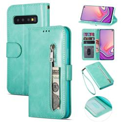 Retro Calfskin Zipper Leather Wallet Case Cover for Samsung Galaxy S10 5G (6.7 inch) - Mint Green