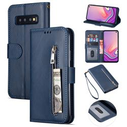 Retro Calfskin Zipper Leather Wallet Case Cover for Samsung Galaxy S10 5G (6.7 inch) - Blue