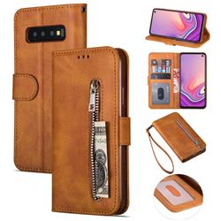Retro Calfskin Zipper Leather Wallet Case Cover for Samsung Galaxy S10 5G (6.7 inch) - Brown