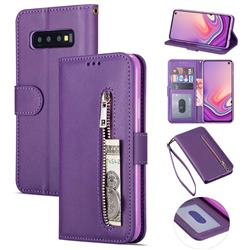 Retro Calfskin Zipper Leather Wallet Case Cover for Samsung Galaxy S10 5G (6.7 inch) - Purple