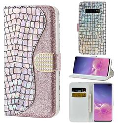 Glitter Diamond Buckle Laser Stitching Leather Wallet Phone Case for Samsung Galaxy S10 5G (6.7 inch) - Pink