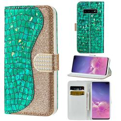 Glitter Diamond Buckle Laser Stitching Leather Wallet Phone Case for Samsung Galaxy S10 5G (6.7 inch) - Green