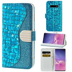 Glitter Diamond Buckle Laser Stitching Leather Wallet Phone Case for Samsung Galaxy S10 5G (6.7 inch) - Blue