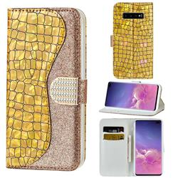 Glitter Diamond Buckle Laser Stitching Leather Wallet Phone Case for Samsung Galaxy S10 5G (6.7 inch) - Gold