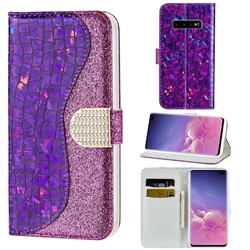 Glitter Diamond Buckle Laser Stitching Leather Wallet Phone Case for Samsung Galaxy S10 5G (6.7 inch) - Purple