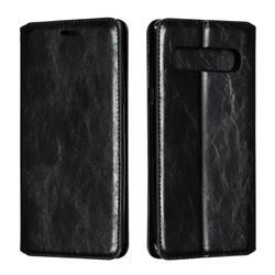 Retro Slim Magnetic Crazy Horse PU Leather Wallet Case for Samsung Galaxy S10 5G (6.7 inch) - Black