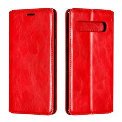 Retro Slim Magnetic Crazy Horse PU Leather Wallet Case for Samsung Galaxy S10 5G (6.7 inch) - Red