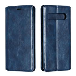 Retro Slim Magnetic Crazy Horse PU Leather Wallet Case for Samsung Galaxy S10 5G (6.7 inch) - Blue