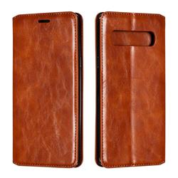 Retro Slim Magnetic Crazy Horse PU Leather Wallet Case for Samsung Galaxy S10 5G (6.7 inch) - Brown