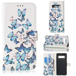 Blue Vivid Butterflies PU Leather Wallet Case for Samsung Galaxy S10 5G (6.7 inch)