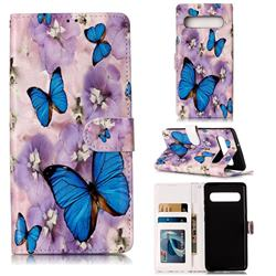 Purple Flowers Butterfly 3D Relief Oil PU Leather Wallet Case for Samsung Galaxy S10 5G (6.7 inch)