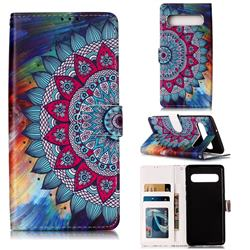 Mandala Flower 3D Relief Oil PU Leather Wallet Case for Samsung Galaxy S10 5G (6.7 inch)