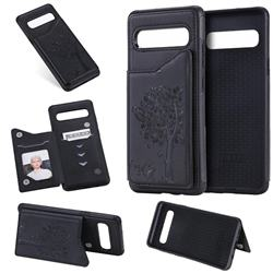 Luxury Tree and Cat Multifunction Magnetic Card Slots Stand Leather Phone Back Cover for Samsung Galaxy S10 5G (6.7 inch) - Black