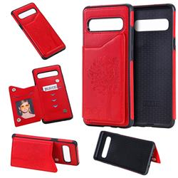 Luxury Tree and Cat Multifunction Magnetic Card Slots Stand Leather Phone Back Cover for Samsung Galaxy S10 5G (6.7 inch) - Red