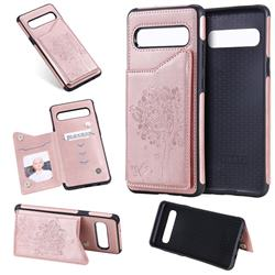 Luxury Tree and Cat Multifunction Magnetic Card Slots Stand Leather Phone Back Cover for Samsung Galaxy S10 5G (6.7 inch) - Rose Gold