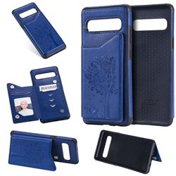 Luxury Tree and Cat Multifunction Magnetic Card Slots Stand Leather Phone Back Cover for Samsung Galaxy S10 5G (6.7 inch) - Blue