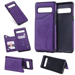 Luxury Tree and Cat Multifunction Magnetic Card Slots Stand Leather Phone Back Cover for Samsung Galaxy S10 5G (6.7 inch) - Purple
