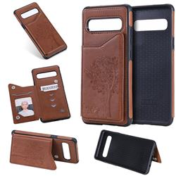Luxury Tree and Cat Multifunction Magnetic Card Slots Stand Leather Phone Back Cover for Samsung Galaxy S10 5G (6.7 inch) - Brown