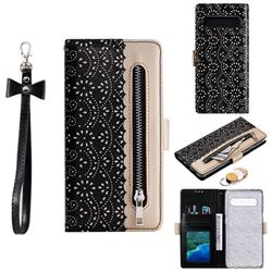Luxury Lace Zipper Stitching Leather Phone Wallet Case for Samsung Galaxy S10 5G (6.7 inch) - Black