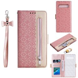 Luxury Lace Zipper Stitching Leather Phone Wallet Case for Samsung Galaxy S10 5G (6.7 inch) - Pink