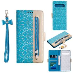 Luxury Lace Zipper Stitching Leather Phone Wallet Case for Samsung Galaxy S10 5G (6.7 inch) - Blue