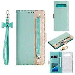 Luxury Lace Zipper Stitching Leather Phone Wallet Case for Samsung Galaxy S10 5G (6.7 inch) - Green