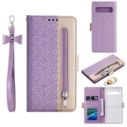Luxury Lace Zipper Stitching Leather Phone Wallet Case for Samsung Galaxy S10 5G (6.7 inch) - Purple