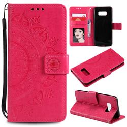 Intricate Embossing Datura Leather Wallet Case for Samsung Galaxy S10 5G (6.7 inch) - Rose Red