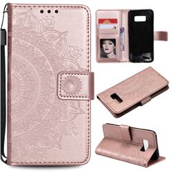 Intricate Embossing Datura Leather Wallet Case for Samsung Galaxy S10 5G (6.7 inch) - Rose Gold