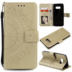 Intricate Embossing Datura Leather Wallet Case for Samsung Galaxy S10 5G (6.7 inch) - Golden