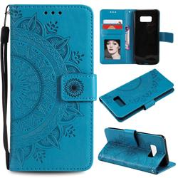 Intricate Embossing Datura Leather Wallet Case for Samsung Galaxy S10 5G (6.7 inch) - Blue