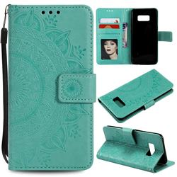 Intricate Embossing Datura Leather Wallet Case for Samsung Galaxy S10 5G (6.7 inch) - Mint Green