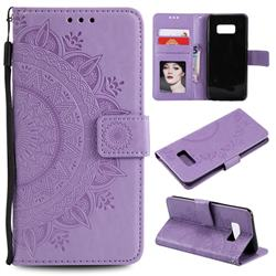 Intricate Embossing Datura Leather Wallet Case for Samsung Galaxy S10 5G (6.7 inch) - Purple