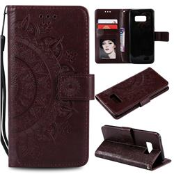 Intricate Embossing Datura Leather Wallet Case for Samsung Galaxy S10 5G (6.7 inch) - Brown