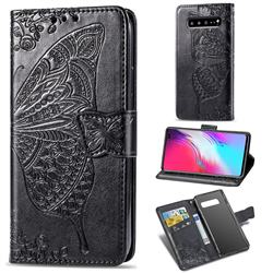 Embossing Mandala Flower Butterfly Leather Wallet Case for Samsung Galaxy S10 5G (6.7 inch) - Black